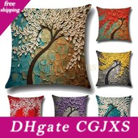 Wholesale painting trees for sale - Group buy Three Dimensional Painting Trees Flower Linen Cotton Pillow Covers x18 Square Sofa Cushion Pillow Case For Home Decor