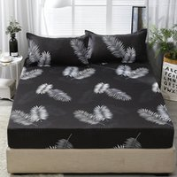king size mattress achat en gros de-3pcs Fitted Sheet with Pillowcase Set Black Leaf Printed Single Queen Size Mattress Protector Cover Bottom Sheet for King Bed LJ200812