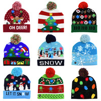 Wholesale christmas hats for sale - Group buy Led Christmas Knitted Hats Kids Baby Moms Winter Warm Beanies Crochet Caps For Pumpkin snowmen Festival party decor gift props