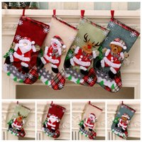 Wholesale large christmas tree for sale - Group buy Christmas Large Stockings Snowman Santa Claus Candy Gift Bags Holders Xmas Socks Hanging Ornaments Christmas Decorations RRA3525