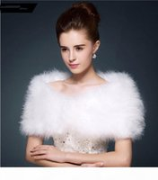Wholesale white wedding shrug bolero for sale - Group buy Wedding fur cape Luxurious ostrich feathers camel Fur Boleros wedding bride White ivory shrug bridal party shawls bolero