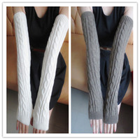 Wholesale long sleeve mittens for sale - Group buy winter women s mittens bare fingers long warm half finger knitting wool sleeve riding arm cover