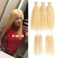 Wholesale 4 bundles straight hair for sale - Group buy Peruvian Virgin Hair Straight Kinky Curly With Lace Closure with Baby Hair Brazilian Blond Hair Bundles with Closure
