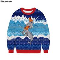 Unisex Christmas Holiday Sweater Sweatshirt Funny 3D Dinosaur Cat Santa Hat Women Men Ugly Xmas Pullover Party Sweater