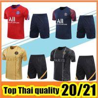 Wholesale paris uniforms resale online - 2020 paris Short sleeve tracksuit MBAPPE CAVANI training suit Paris t shirt short pants football uniform set