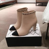 Wholesale european work boots resale online - 100 leather European and american style boots Designer winter metal top with black and nude stitching Luxury women shoes work boots