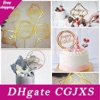 Wholesale cake topping decorations for sale - Group buy 50 Styles Happy Birthday Cake Topper Cake Inserts Acrylic Letter Gold Silver Cake Top Flag Decoration For Kids Birthday Party