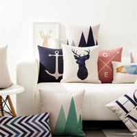 Wholesale dark purple decorative pillows resale online - Decorative Throw Pillow Case Cover Geometry Animals Cushion Cover Geometric Letter Funda Cojines For Sofa Home x45cm