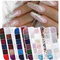 Wholesale nails art salon resale online - 12 Grids Holographic Nail Art Glitter Sequins Shining Mermaid Pigment Dust D Flakes For Nail Salon Manicure Decorations SAF