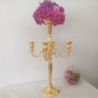 Wholesale candle sticks bowl resale online - Gold Heads Crystal Candelabra CM Height Candle Holder Wedding Centerpiece Flower Bowl Candle Holder With Pendants