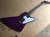 Wholesale white flamed maple resale online - Flame Maple veneer Top Purple body Electric Guitar with Fixed Bridge HH Pickups White Pickguard Chrome hardware can be customized
