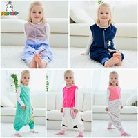 Wholesale air conditioning costumes resale online - Autumn winter children sleeping bag baby air conditioning suit sleeveless flannel pajamas baby one piece home service costumes