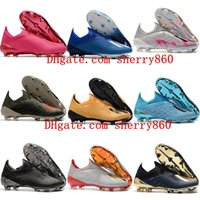 Wholesale soccer football boots soft ground for sale - Group buy 2020 top quality mens soccer shoes X FG outdoor Firm Ground soccer cleats Laceless leather football boots hot
