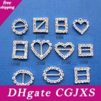 Wholesale round slider buckle for sale - Group buy 15mm Diamond Buckles Wedding Rhinestone Buckle Diamante Ribbon Slider Slide Square Heart Round