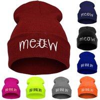 Wholesale meow beanies resale online - New Embroidery Meow Winter Hat Men Caps Womens Beanies Warm Hip Hop Bonnet Wool Blends Knitted Hat Female Skullies Beanies