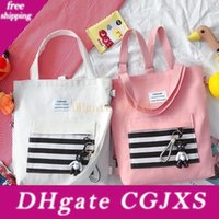 Wholesale girls large shopping bags resale online - Girl Striped Canvas Design Handbags Backpack Zipper One Shoulder Bags Large Capacity Travel Storage Bags Shopping Casual Tote Gga3196
