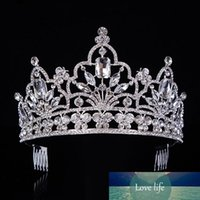 Discount rhinestone crowns for queens Hot Silver Crystal Large Queen Pageant Crown Noble Rhinestone Diadem Tiaras For Princess Headbands Wedding Hair Accessoriest-029 J190701