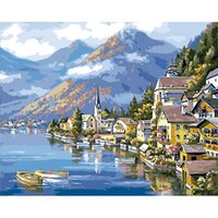 Wholesale beautiful oil paintings art resale online - Art Paint By Numbers for Adult Kids Beginner Beautiful Hometown Canvas Oil Paintings for DIY