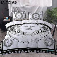 Wholesale best white bedding for sale - Group buy Lai Yin Sun Sun God Bedding Set Moon Black and White Bed Cover Drop Ship Twin Full Queen King Duvet Cover Set best Gift bedline