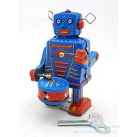 NB Tinplate Retro Wind-Up Robot, Can Drum& Walk, Clockwork Toy, Nostalgic Ornament, for Kid Birthday Christmas Boy Gift, Collect, MS514, 2-1