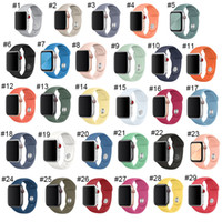 Wholesale iwatch series for sale - Group buy Latest Strap For Apple Watch Band mm mm mm mm Double Rubber Button Silicone IWatch Strap For Apple Watch Series high quality