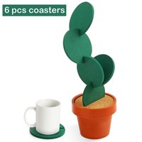 Wholesale bar decor pieces resale online - Creative DIY Cactus Coaster Set of Pieces with Flowerpot Holder for Drinks Novelty Gift Home Office Bar Decor and Improvement DEC350
