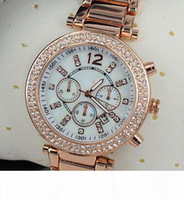 Wholesale word watches resale online - Fashion Watches michael Quartz Watch Casual Full Steel Dial Style woman All over the sky stars Crystal Diamond Rome Word Dial Style Geneva