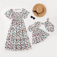 Wholesale mother daughter white matching clothes for sale - Group buy New Mother Daughter Cotton Dress White Floral Print Baby Girls Romper Summer Mommy and me Clothes Family matching clothes
