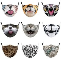 Wholesale female cat mask resale online - DHL cat cat tiger animal mouth mask D digital printing breathable protective male and female adult can put filter mask