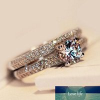 Wholesale 925 sterling silver white topaz ring resale online - Size4 Amazing Weick sterling silver filled White topaz Ziconia Diamonique Wedding Engagement Bridal Band Ring set GIFT