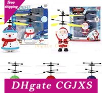 Wholesale big helicopter drone resale online - Christmas Obstacles Avoid Intelligent Flying Sensitive Cute Rc Drone Santa Claus Snowman Crystal Ball Aircraft Dazzling Helicopter La223
