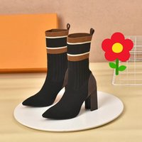 Wholesale dress with boots resale online - Women Fashion Pointed Ankle Boots cm Heels Black Sock Leather Short Booties Lady Half Dress Party Wedding Boot With Box