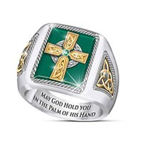 Wholesale statement ring men resale online - Luxury Big Cross Men s Ring New Fashion Steampunk Pray Christian Rings for Men Statement Party Jewelry Gifts Dropshipping