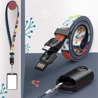 Wholesale cell phone charge cable for sale – best Neck Lanyard Data Cable Universal Creative USB Fast Charging Cable Suitable For Cell Phone ID Card Key Chain Straps Party Favor Gift LJJP386