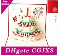 Wholesale gift cards resale online - Birthday Cake d Pop Up Gift Greeting d Blessing Cards Handmade Paper Silhoue Creative Happy Christmas Cards Y134