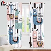печатные экраны  оптовых-Miracille Cartoon Alpaca Window Curtain Room Darkening Printed Animal for Kids Bedroom Curtains Living Room Window Screen