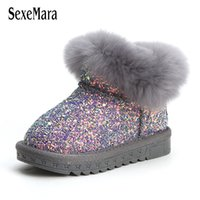 Wholesale toddler lighting shoes resale online - Baby Shoes Winter Toddler Girl Shoes Really Fur Shoes for Baby Boy Light Bling Newborn Infant Boots Outdoor Years B11081 Y200404