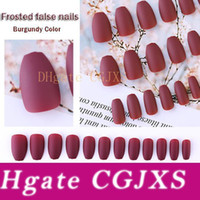 Wholesale black blue tip nails resale online - For Fashion Female Colors Fake Nails Pieces Set False Nails White Black Grey Burgundy Blue Frosted Ballet Nails Free Nail Gluewater
