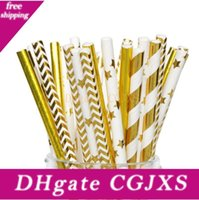 Wholesale colorful drinking paper straw resale online - Promotion mm Colorful Disposable Thick Drinking Gold Star Heart Paper Straws For Bar Birthday Wedding Decoration Party Straw Lx6025