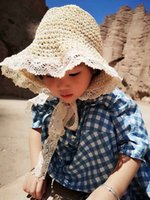 Wholesale handmade knitted hat adult for sale - Group buy Children s new straw fisherman s handmade knitted crochet pastoral style sweet lace bucket bucket Straw fisherman hat lace sun hat travel Ko