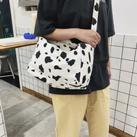 Wholesale doll cross bag for sale - Group buy 2020 New Women Canvas Shoulder Bag Cow Print Cross Bag Large Capacity Crossbody Girl Fashion Zip Flap Hasp With Cute Doll