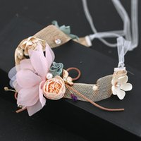 Wholesale used wedding dresses resale online - Bride Mori girl fairy headdress Korean style flower band dual use wedding dress hair Hair band Accessories necklace necklace accessories cRs