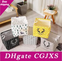 Wholesale toys bathroom resale online - Folding Storage Bucket Cotton And Linen Children S Toy Storage Bag Top Waterproof Bathroom Dirty Clothes Laundry Storage Box Lxl273
