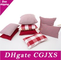 Wholesale designer classics covers resale online - 18 Classic Retro Checkers Plaids Throw Pillow Cover Cotton Polyester Soft Soild Pillow Case Red Cushion Case For Sofa Bedroom Car