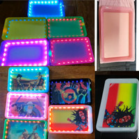 Wholesale 2020 Led Glow tray Customize Silicone Rolling trays light up roll tray for Tobacco Dry Herb Storage tray Rechargeable Smoking Plate