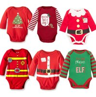 Wholesale elk baby clothes resale online - Kids Christmas Clothing Children Long Sleeve Halloween Jumpsuits Rompers Striped Elk Baby Girls One Piece Kids Party Clothes E92704