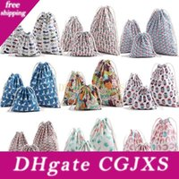 Wholesale duck candies for sale - Group buy Free Dhl Christmas Gift Bag Pure Linen Cotton Canvas Drawstring Sack Bags With Xmas Cat Bear Duck Bird Fish Children Flower For Gifts Candy