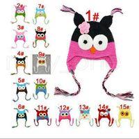 Wholesale crochet baby hats ear flaps resale online - Children Cartoon Warm Toddler Owl Ear Flap Knitted Hats Infant Baby Handmade Crochet Cute OWL Beanies Party Hats Supplies RRA3467