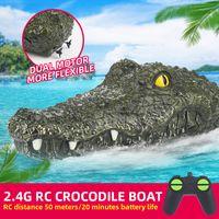 Wholesale remote control boats resale online - Ship model crocodile head G remote control joke crocodile skin bait electric toy summer water prank toy gift