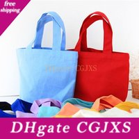 Wholesale colorful wedding flats for sale - Group buy Colorful Cotton Canvas Food Bag Lunch Reusable Tote Pouch Cosmetic Bag Wedding Gift Bag Factory Lx0439